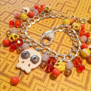 Day of the Dead Sugar Skull Charm Bracelet